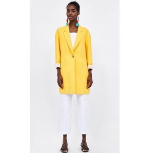 Zara Yellow Oversized Coat W/ lapel Collar Medium